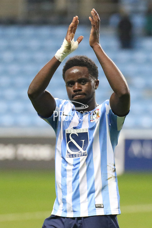 Coventry midfielder Gaël Bigirimana applauds the crowd after the Sky Bet League 1 match between Coventry City and Bradford City at the Ricoh Arena, Coventry, England on 19 April 2016. Photo by Chris Wynne.