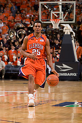 Clemson guard Cliff Hammonds (25) in action against Virginia.  The Virginia Cavaliers men's basketball team hosted the Clemson Tigers at the John Paul Jones Arena in Charlottesville, VA on February 7, 2008.