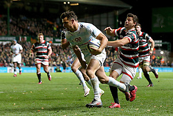 Dan Carter of Racing 92 scores a try - Mandatory by-line: Robbie Stephenson/JMP - 23/10/2016 - RUGBY - Welford Road Stadium - Leicester, England - Leicester Tigers v Racing 92 - European Champions Cup
