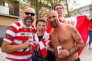 Wigan fans during the Ladbrokes Challenge Cup Final 2017 match between Hull RFC and Wigan Warriors at Wembley Stadium, London, England on 26 August 2017. Photo by Simon Davies.