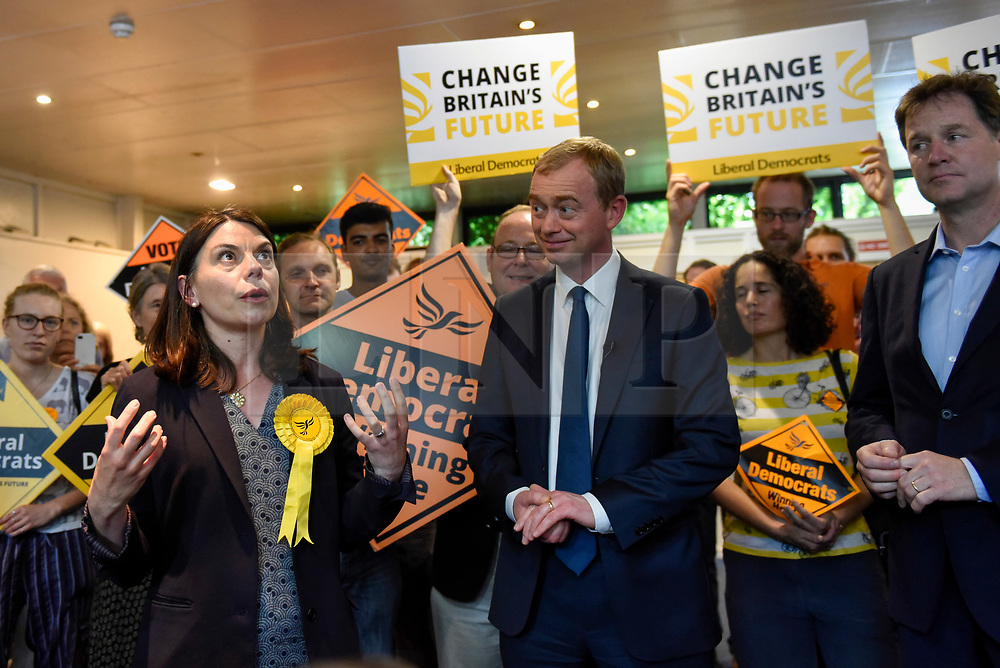 © Licensed to London News Pictures. 01/06/2017. London, UK.  Sarah Olney, watched on by Liberal Democrat Leader Tim Farron and LibDem Brexit Spokesman Nick Clegg during a visit to Shiraz Mirza Community Centre in Norbiton to meet local voters.  Photo credit : Stephen Chung/LNP