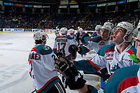 KELOWNA, CANADA - MARCH 7: The Kelowna Rockets celebrate a first period goal against the Victoria Royals on March 7, 2017 at Prospera Place in Kelowna, British Columbia, Canada.  (Photo by Marissa Baecker/Shoot the Breeze)  *** Local Caption ***