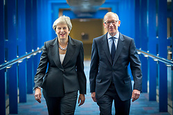 © Licensed to London News Pictures. 03/10/2018. Birmingham, UK. Prime Minister Theresa May & her husband Philip today ahead of the PM's speech to her party on the final day of the Conservative Party Conference being held at the International Convention Centre in Birmingham. Photo credit: Andrew McCaren/LNP