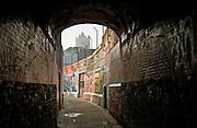 Urban living and walls of graffiti  in Werregaren Straat, Ghent, Belgium
