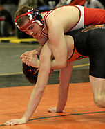 Daniel Klontz, (top,) from Springfield North defeated Beavercreek's Quenten Pemberton in the second round, to advance in the 2007 Division I Sectionals at Centerville High School, Friday night.