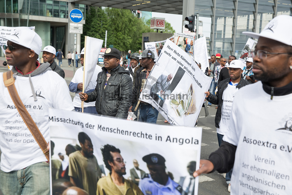 Berlin, Germany - 08.06.2017<br /> <br /> Former Angolan GDR contract workers are protesting against the government of Angola. Among other things, they demand outstanding payments. At that time, Angola had withheld 75% of the salary, a later announced payment was not made.<br /> <br /> Ehemalige angolanische DDR-Vertragsarbeiter protestieren gegen die Regierung von Angola. Sie fordern unter anderem noch ausstehende Lohnzahlungen. Angola hatte damals 75% des Gehalts einbehalten, eine fuer spaeter angekuendigten Auszahlung blieb aus.<br /> <br /> Photo: Bjoern Kietzmann