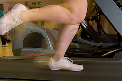 Women's feet running on the treadmill at Southglade Leisure Centre; Nottingham