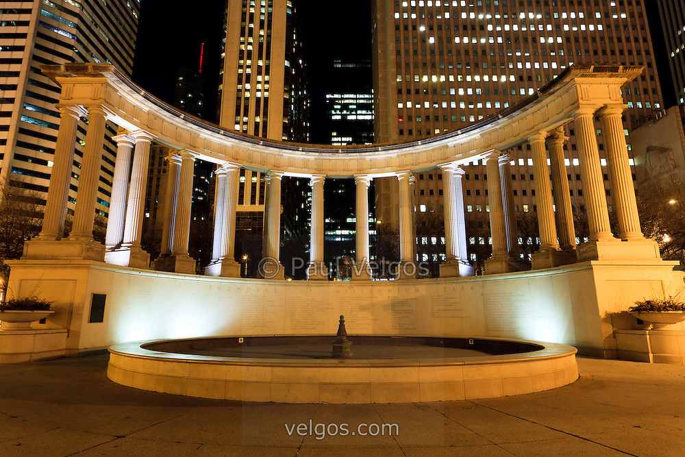 Millennium Monument in Chicago. Millennium Monument is a peristyle and fountain located in Wrlgley Square which is part of Millennium Park and Grant Park. The monument lists The Founders of Millennium Park