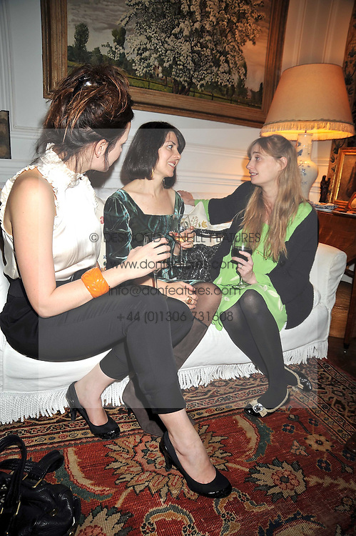 Left to right, RACHEL STIRLING, SHARON STIRLING and CLEMENTINE FRASER at a party to celebrate the publication of Charles Glass's new book 'Americans in Paris' held at 12 Lansdowne Road, London W1 on 25th March 2009.