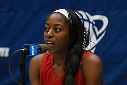 March 18, 2011; Stanford, CA, USA; Stanford Cardinal forward Chiney Ogwumike (13) speaks at a press conference the day before the first round of the 2011 NCAA women's basketball tournament at Maples Pavilion.