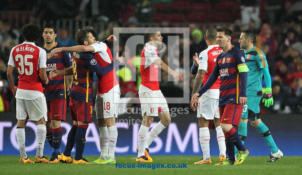 FC Barcelona and Arsenal players at the end of the UEFA Champions League match at Camp Nou, Barcelona<br /> Picture by Yannis Halas/Focus Images Ltd +353 (87) 258201<br /> 16/03/2016