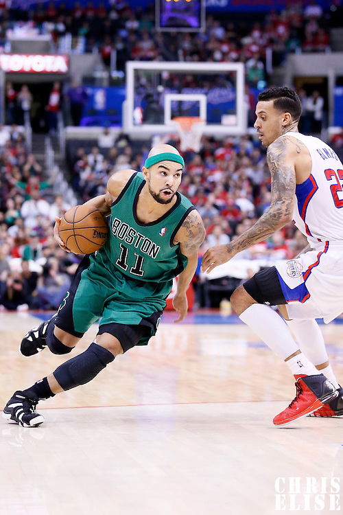 08 January 2014: Boston Celtics point guard Jerryd Bayless (11) drives past Los Angeles Clippers small forward Matt Barnes (22) during the Los Angeles Clippers 111-105 victory over the Boston Celtics at the Staples Center, Los Angeles, California, USA.