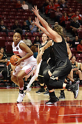 04 November 2015:  Viria Livingston(23) look for the hoop which is protected by Kylie Ferguson(5). Illinois State University Women's Basketball team hosted The Lions from Lindenwood for an exhibition game at Redbird Arena in Normal Illinois.
