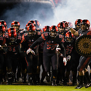 10 November 2018: The San Diego State Aztecs take the field prior to taking on the UNLV Rebels. The Aztecs lost 27-24 to UNLV Saturday night at SDCCU Stadium falling a game behind Fresno State in the conference standings.