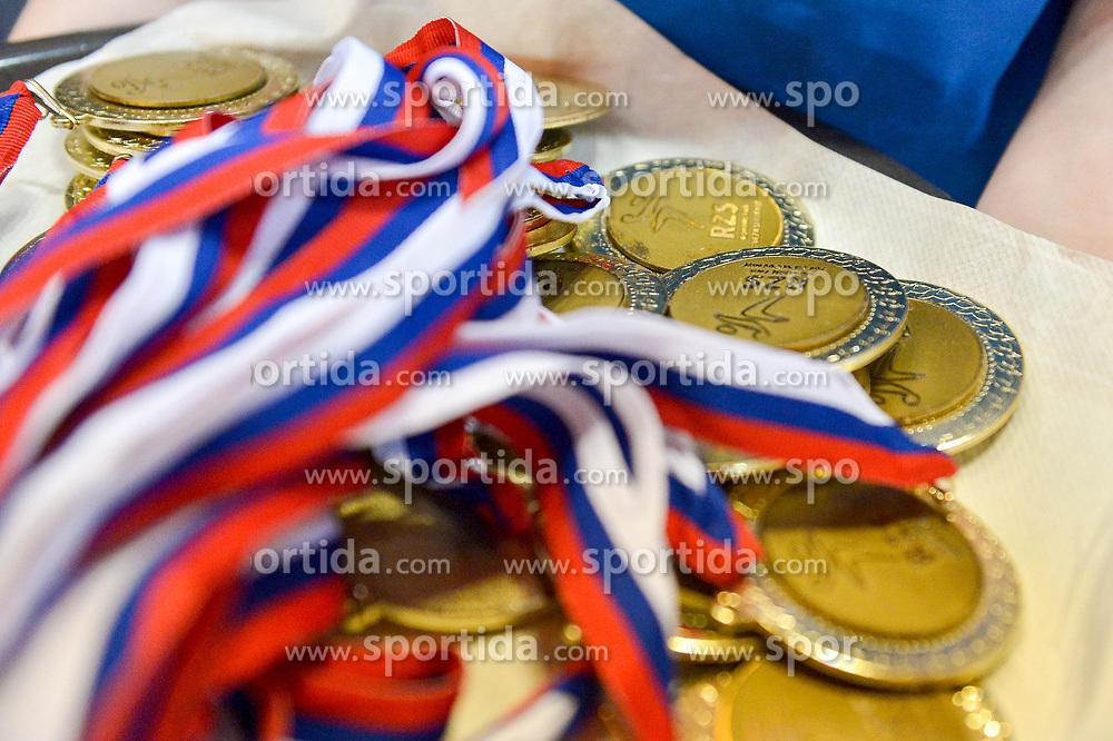 Gold medals during handball match between RK Krka and RK Celje Pivovarna Lasko in the Final of Slovenian Men Handball Cup 2018, on April 22, 2018 in Sportna dvorana Ljutomer , Ljutomer, Slovenia. Photo by Mario Horvat / Sportida