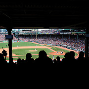 A panoramic view from the stands during the Boston Red Sox V Tampa Bay Rays, Major League Baseball game on Jackie Robinson Day, Fenway Park, Boston, Massachusetts, USA, 15th April, 2013. Photo Tim Clayton