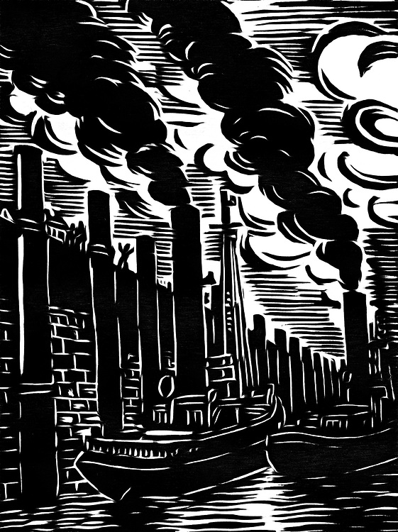 Black / white drawing of Tugboats in the harbor at low tide