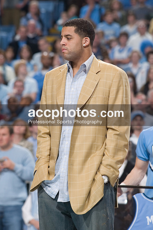 31 December 2006: Sean May as the jerseys for former players Sean May, Raymond Felton and Rashad McCants were honored and hung in the Dean Smith Center during a North Carolina Tar Heels 81-51 win over the Dayton Flyers in Chapel Hill, NC.<br />