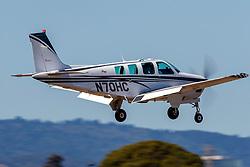 Beech A36 Bonanza (N70HC) on approach to Palo Alto Airport (KPAO), Palo Alto, California, United States of America
