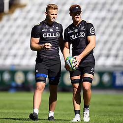 DURBAN, SOUTH AFRICA - MAY 04: Daniel Du Preez of the Cell C Sharks with Philip van der Walt of the Cell C Sharks during the Cell C Sharks captains run at Jonnsons Kings Park on May 04, 2018 in Durban, South Africa. (Photo by Steve Haag/Gallo Images)