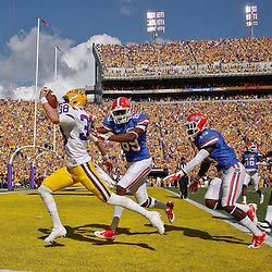 October 8, 2011; Baton Rouge, LA, USA;  LSU Tigers punter Brad Wing (38) scores on a fake put past Florida Gators wide receiver Stephen Alli (89)  but the play was negated by a penalty during the first quarter at Tiger Stadium.  Mandatory Credit: Derick E. Hingle-US PRESSWIRE / © Derick E. Hingle 2011
