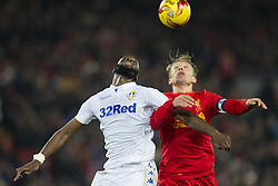 Halbfinale im Liga-Pokal Liverpool vs Leeds 1:0 in Liverpool / 291116<br /> <br /> ***LIVERPOOL, ENGLAND 29TH NOVEMBER 2016:<br /> Leeds United forward Souleymane Doukara fights for the ball against Liverpool midfielder Lucas Leiva during the English League Cup soccer match between Liverpool and Leeds at Anfield Stadium in Liverpool England November 29th 2016***