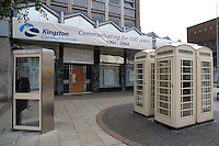 New and old style white telephone boxes operated by Kingston Communications formerly The Hull City Telephone Department of the City Council....