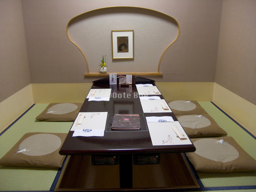 modern traditional designed Japanese dining table in a Tokyo restaurant