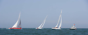 12 Meter Class American Eagle, Weatherly, and Nefertiti racing at the Nantucket 12 Meter Regatta