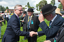 © Licensed to London News Pictures. 24/07/2017. Llanelwedd, UK. Michael Gove MP. Secretary of State for Environment, Food and Rural Affairs , in the Main Ring meeting judges and stewards, visits the Royal Welsh Show.The Royal Welsh Agricultural Show is hailed as the largest & most prestigious event of its kind in Europe. In excess of 200,000 visitors are expected this week over the four day show period. The first ever show was at Aberystwyth in 1904 and attracted 442 livestock entries. Photo credit: Graham M. Lawrence/LNP
