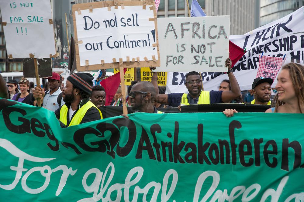 Berlin, Germany - 10.06.2017<br /> <br /> Anti-G20 Demonstration under the slogan &rdquo;they call it partnership, we call it hell&rdquo; against the upcoming G20-Africa conference.<br /> <br /> Anti-G20 Demonstration unter dem Motto &rdquo;They call it partnership, we call it hell&rdquo; (&rdquo;Sie nennen es Partnerschaft, wir nennen es Hoelle&quot;) gegen die bevorstehende G20-Afrika Konferenz.<br /> <br /> Photo: Bjoern Kietzmann