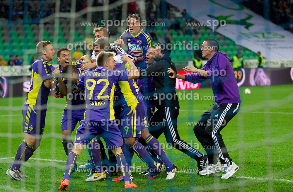 Players of Maribor celebrate after penalty shots during football match between NK Celje and NK Maribor in final of Hervis Cup 2011/12, on May 23, 2012 in SRC Stozice, Ljubljana, Slovenia. Maribor defeated Celje after penalty shots and became Slovenian Cup Champion. (Photo by Vid Ponikvar / Sportida.com)