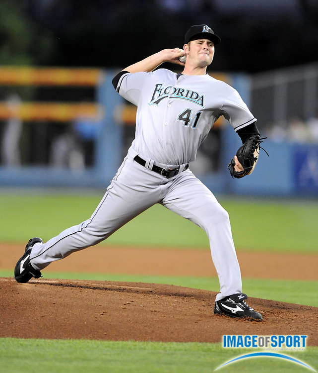 Jul 11, 2008; Los Angeles, CA, USA; Florida Marlins starter Chris Voldstad (41) pitches in his Major League Debut in 3-1 victory over the Los Angeles Dodgers at Dodger Stadium.