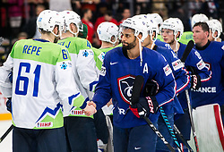 Jurij Repe of Slovenia and Pierre-Edouard Bellemare of France after the 2017 IIHF Men's World Championship group B Ice hockey match between National Teams of France and Slovenia, on May 15, 2017 in AccorHotels Arena in Paris, France. Photo by Vid Ponikvar / Sportida