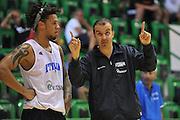 Sassari 14 Agosto 2012 - Qualificazioni Eurobasket 2013 -Allenamento<br /> Nella Foto : DANIEL HACKETT SIMONE PIANIGIANI<br /> Foto Ciamillo