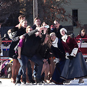 Cast members of Ice Dance International take a group selfie before performing at Strawbery Banke, Portsmouth, NH Jan 14, 2017