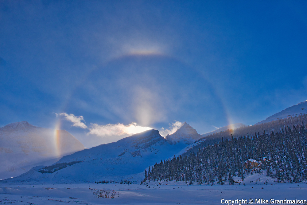 Halo and sundogs at Athabasca Glacier. in the Canadian Rocky Mountains , Jasper National Park, Alberta, Canada