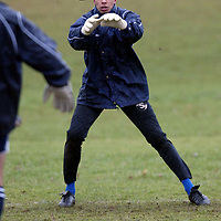 St Johnstone Training..26.02.02   <br />New St Johnstone signing Ludovic Roy taking part in his first training session since joining from St Mirren<br /><br />see story by Gordon Bannerman Tel:01738 553978<br /><br />Picture by Graeme Hart.<br />Copyright Perthshire Picture Agency<br />Tel: 01738 623350  Mobile: 07990 594431