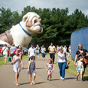 August 21, 2016, New Haven, Connecticut: <br /> Fans enter the grounds past the Handsome Dan inflatable Yale mascot during Day 3 of the 2016 Connecticut Open at the Yale University Tennis Center on Sunday, August  21, 2016 in New Haven, Connecticut. <br /> (Photo by Billie Weiss/Connecticut Open)