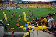 The Hurricanes run out before the match. Super 15 rugby match - Hurricanes v Highlanders at Westpac Stadium, Wellington, New Zealand on Friday, 18 February 2011. Photo: Dave Lintott/PHOTOSPORT
