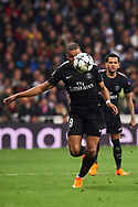 Kylian Mbappe (forward; Paris Saint-Germain) in action during the UEFA Champions League match between Real Madrid and Paris Saint-Germain at Santiago Bernabeu on February 14, 2018 in Madrid, Spain