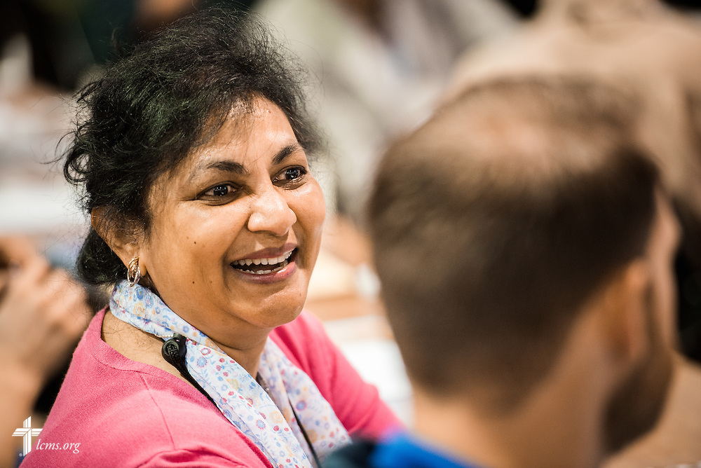 Eunice Bailey shares a lighthearted moment during the 66th Regular Convention of The Lutheran Church–Missouri Synod on Sunday, July 10, 2016, at the Wisconsin Center in Milwaukee. LCMS/Michael Schuermann