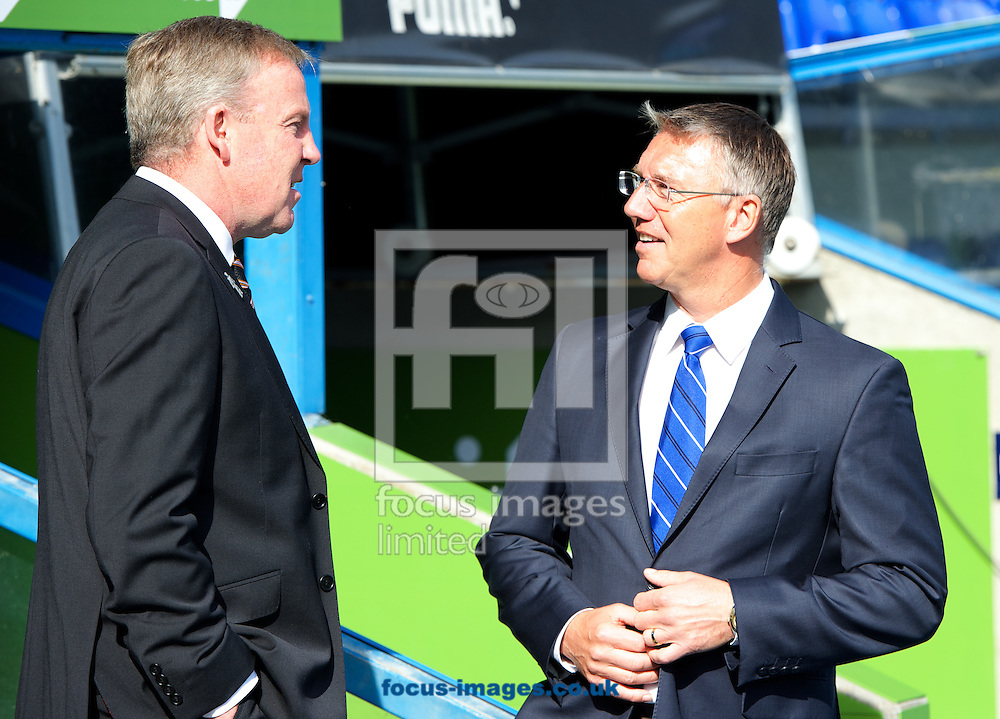Manager Kenny Jackett  of Wolverhampton Wanderers and Manager Nigel Adkins of Reading have a conversation before the Sky Bet Championship match at the Madejski Stadium, Reading<br /> Picture by Alan Stanford/Focus Images Ltd +44 7915 056117<br /> 28/09/2014