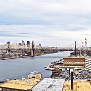 New York City East River, panoramic photo