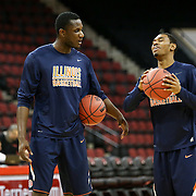 Players for the Illinois Fighting Illini warm up prior to the NIT First Round game at Agganis Arena on March 19, 2014 in Boston, Massachusetts . (Photo by Elan Kawesch)
