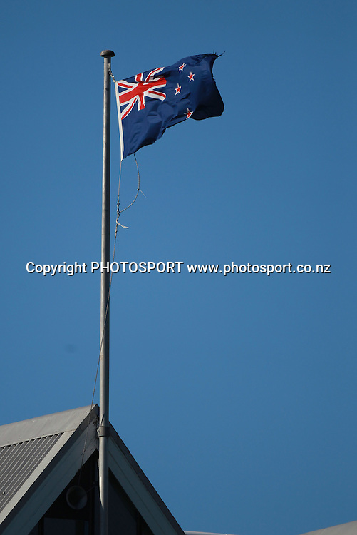 The New Zealand flag in a strong Northerly wind on Day 2 of the 2nd test match.  New Zealand Black Caps v Pakistan, Test Match Cricket. Basin Reserve, Wellington, New Zealand. Sunday 16 January 2011. Photo: Andrew Cornaga/photosport.co.nz