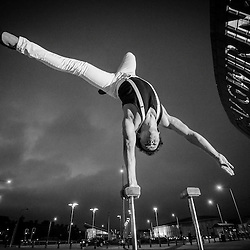 Felipe Salas Rodrigues  during an awesome and freezing urban handstands photoshoot at the Wales Millennium Centre in Cardiff Bay, UK.