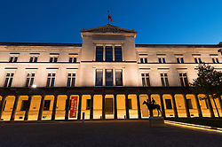 Exterior night view of Neues Museum or New Museum on Museumsinsel in Berlin Germany