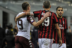 November 26, 2017 - Milan, Italy - Andrea Belotti  Torino FC and Leonardo bonucci of AC Milan after Italian serie A match AC Milan vs Torino FC at San Siro Stadium  (Credit Image: © Gaetano Piazzolla/Pacific Press via ZUMA Wire)