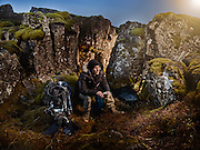 Cold water Diver in Iceland shot as a Environmental Portraiture on a PhaseOne IQ180